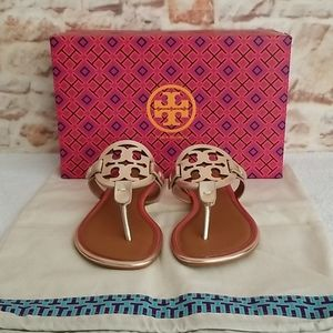 New Tory Burch Miller Mirror Metallic Flat Sandal